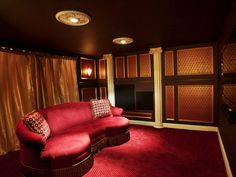 Low seven foot ceilings were no challenge for the designer when directing one's focus to the decorative moldings, the Art Deco wall coverings and furnishings. Deep, saturated colors create an air of warmth, drama and volume. Great Home Theater!!!