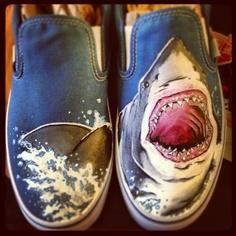 Shark shoes! Hand painted vans. Facebook.com/geekedoutshoes Etsy.com/shop/geekedoutshoes Painted Toms, Hand Painted, Shark Shoes, Shark Drawing, New Hobbies, Stella Mccartney Elyse, Vans, Boots, Sharks