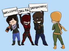 Welcome to The Defenders: Jessica Jones, Daredevil, Luke Cage and Iron Fist - Visit to grab an amazing super hero shirt now on sale! Batwoman, Nightwing, Marvel Show, Marvel Series, Red Hood, Marvel Dc Comics, Marvel Avengers, Red Robin, Defenders Marvel