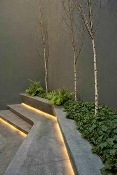gartentreppe aussentreppe kräuter beleuchtung stufe