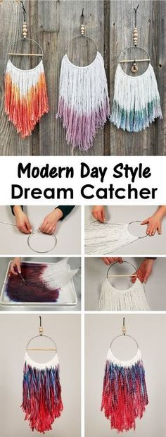 Create a modern day style dream catcher using acrylic yarn, craft rings, and liquid watercolor.