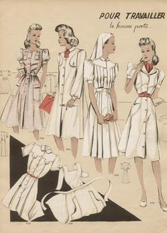 1940s French pattern for Women's Work attire / clothing / uniforms ~ Nurses' uniforms, etc.
