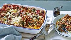 Mary Berry's wonderfully different take on lasagne is super quick, perfect for a midweek supper. Equipment and preparation: for this recipe you will need a shallow pint ovenproof dish measuring about and deep. Lasagne Recipes, Pasta Recipes, Bbc Recipes, Pork Recipes, Chicken Recipes, Buffalo Cauliflower, British Baking, Creamed Spinach, Dried Tomatoes