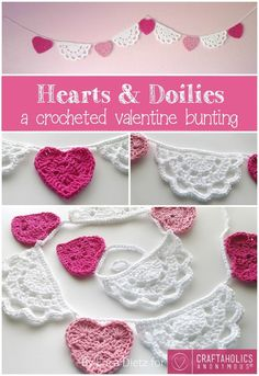 Crochet Tutorial Hearts and Doilies Crochet Valentine Bunting Tutorial Holiday Crochet, Crochet Home, Diy Crochet, Crochet Crafts, Crochet Doilies, Crochet Flowers, Crochet Projects, Crochet Birds, Crochet Bear