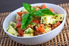 Diced Caprese Salad with a Pesto Dressing