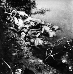 The bodies of Jasenovac Extermination Camp victims floating in the Sava river in Croatia.