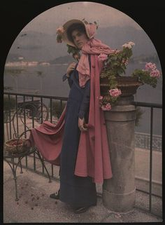 George Eastman House Collection. Woman in pink cape and bonnet. ca. 1915.