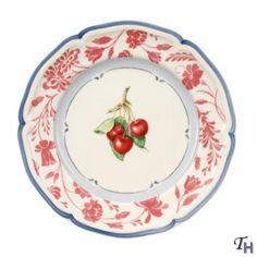Villeroy & Boch Cottage Salad Plate - Red Stencil Rim