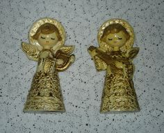 vintage mod Japan paper mache angels gold off white by lilmopeep1, $19.99
