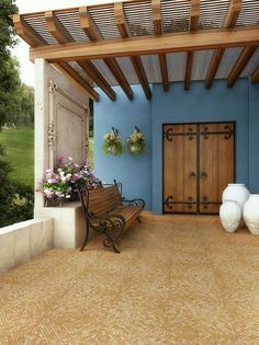 43 Ideas for exterior doors patio terraces Patio Roof, Pergola Patio, Backyard, Outdoor Spaces, Outdoor Living, Outdoor Decor, Mexico House, Patio Flooring, Hacienda Style