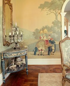 de Gournay; 'Early views of India' design in full custom design colours on custom brown scenic paper. Interior design by Joseph Minton. Photography by Emily Minton Redfield.