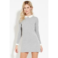 Forever 21 Women's  Collared Wool-Blend Dress ($25) ❤ liked on Polyvore featuring dresses, white peter pan collar dress, long sleeve sweater dress, forever 21 dresses, white sweater dress and full length dress
