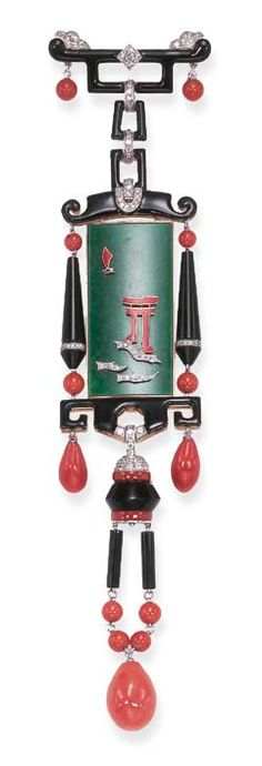A DIAMOND, CORAL, ONYX, JADEITE AND ENAMEL BROOCH  Designed as a black enamel bar pin with old European-cut diamond detail, enhanced by coral drop terminals, suspending a series of similarly-designed links to the rectangular jadeite plaque, depicting a red enamel and single-cut diamond Oriental scene, to the lower onyx, coral and old European-cut diamond pendants, mounted in gold. art deco