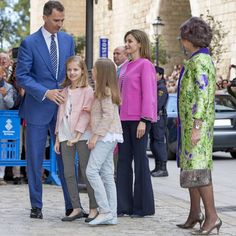 March 27, 2016 - King Felipe VI of Spain, his wife Queen Letizia, his mother Queen Sofía & his daughters, Princess Leonor & Infanta Sofía, attended the traditional Easter Mass of Resurrection in Palma de Mallorca.
