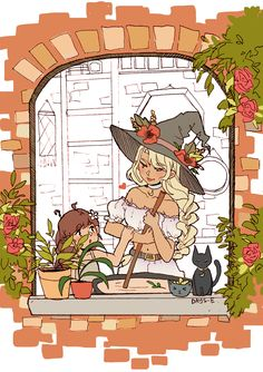 """days-e's art """"Commission info - here """" Illustrations, Illustration Art, Witch Characters, Witch Drawing, Witch Art, Character Design Inspiration, Aesthetic Art, Cute Drawings, Cute Art"""