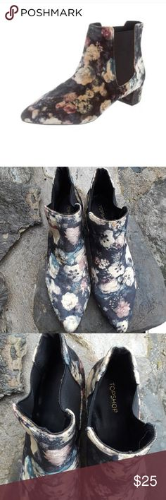 Topshop Krazy ankle boot New with tags I thought these on Poshmark but the total is 2.80 for my old Tire feet nine and a half but they fit like a 9 they're so pretty I love them but I can't wear them crushed velvet floral design goes with everything Topshop Shoes Ankle Boots & Booties