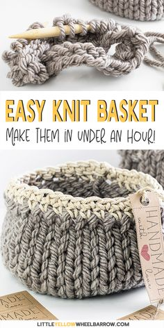 Free DIY Basket Pattern you can Knit up in a Flash Cute DIY baskets you can knit up quick and easy. This easy craft project requires a single skein of yarn and requires only basic knitting knowledge. A perfect knitting project for beginners. Knit up a Easy Craft Projects, Yarn Projects, Sewing Projects, Diy Crafts, Quick Knitting Projects, Beginners Knitting Patterns Free, Diy Knitting Ideas, Crafts With Yarn, Sewing Tutorials