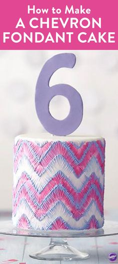 How to make a Chevron Fondant Cake - This cake has hand-made appeal thanks to the stitched look of brushed embroidery. Create the exciting purple and pink color scheme using Wilton's Color Right Performance System. Great as a birthday cake, shower cake, or just about any celebration!