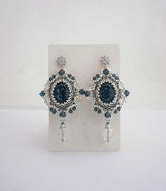 Silver beadwork earrings with Swarovski Montana by MadeByAllushka
