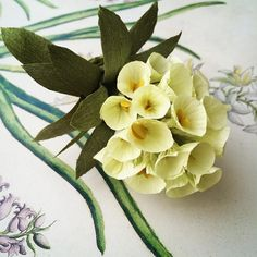 Paper euphorbia. #fridayflowertip : I didn't actually wire each one of these little flowers.  I just twisted the bottom of each one, and the heavy crepe was stiff enough to act as a little stem, which saved me a lot of time. #paperflowers