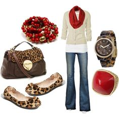 Neutrals, red, leopard print