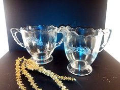 Mid Century Glass Cream and Sugar Set With by VintageQuinnGifts
