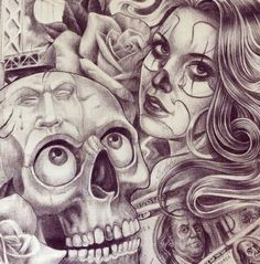 Prison Drawings, Chicano Drawings, Chicano Tattoos, Tattoo Drawings, Art Drawings, Evil Tattoos, Tattoo Sketches, Day Of Dead Tattoo, Arte Lowrider
