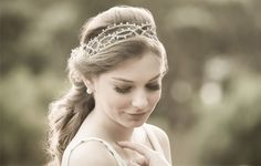 D. Cantidio - delicate custom pieces crown headband accessories garland tiara copper wires wreath with pearls and swarovski crystals - modern, traditional and romantic brides - hairdo, bun, braids, veil- like a nowadays princess
