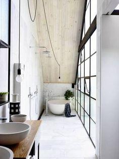 Big Bathroom Ideas Marble Floor Glass Partition Slanted Ceiling