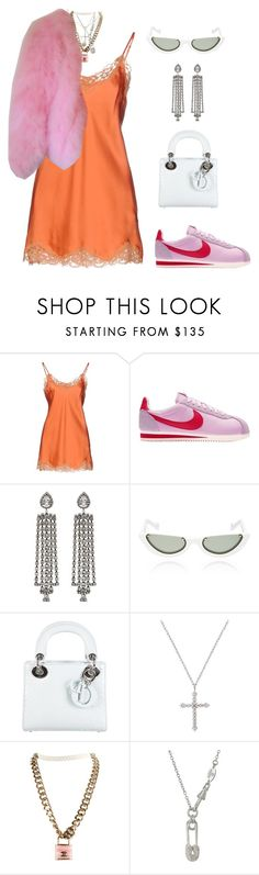 """""""Untitled #1910"""" by lucyshenton ❤ liked on Polyvore featuring Falcon & Bloom, NIKE, DANNIJO, PAWAKA, Christian Dior, Chanel, Vivienne Westwood and Lipsy"""