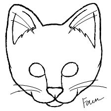 basic line art drawing possible template for cake cat face