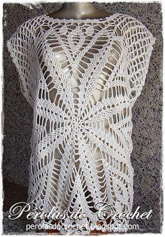 * Pérolas do Crochet: Blusa em crochet Madri