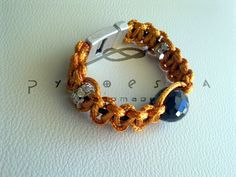 orange cord, black leather & czech crystal (magnetic clasp)