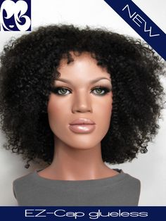 Apple Kinky Curly Glueless Indian Remy EZ-cap Full Lace Wig