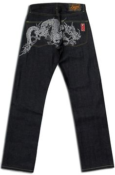 The WHITE DRAGON Jeans by Sugoi with embroidery.
