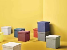 Kube storage ottoman by Kvell. Collapsible, and versatile, Kube pulls double duty as an extra seating option and as hidden storage space. Kube comes in a thick, rich textile, available in a range of warm neutrals, muted and statement colors.