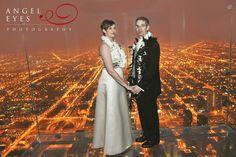 Sears tower skydeck Willis modern fun wedding photos Chicago skyline romatic couples photography Hilda Burke Angel Eyes I llinois 18