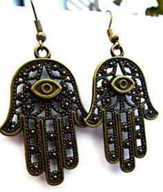 gypsy jewelry   Gypsy earrings hand Fatima Hamsa earrings Boho Jewelry bronze charm ...