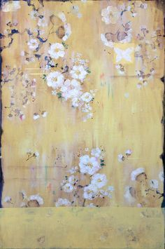 """Kathe Fraga Art, inspired by the romance of vintage French wallpapers and Chinoiserie with a modern twist. """"Beyond The Lace Curtains..."""", 24x36 each, (l and ll), on frescoed panel. www.kathefraga.com"""