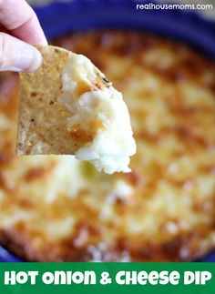 Hot Onion & Cheese Dip Recipe ~ really tasty and quick and easy to make! With only four ingredients, it can be put together for any party or Happy Hour! Hot Cheese Dips, Cheese Dip Recipes, Cheese Toast, Onion Recipes, Milk Recipes, Yummy Recipes, Vegetarian Recipes, Recipies, Healthy Recipes
