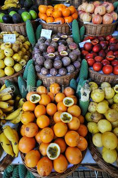Different kinds of passionfruit. Mercado dos Lavradores, Funchal. Madeira, Portugal