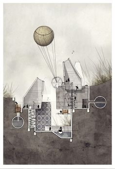 Drawing ARCHITECTURE | 'Speculation' Alexander Wiegering 2013. Mixed...