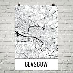 Glasgow Scotland Map, Art, Print, Poster, Wall Art From $29.99 - ModernMapArt