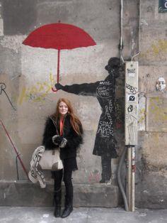 Myself under graffiti umbrella in Paris. 2012.