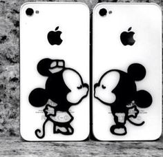 Cute Mickey and Minnie Mouse iPhone cases kissing black and white