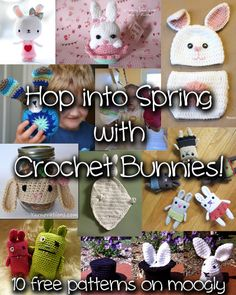 Crochet Bunnies - so cute! Free pattern roundup at Moogly! #crochet #easter #spring