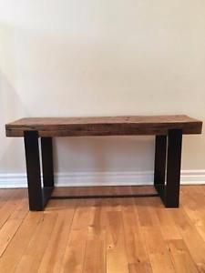 Industrial style entrance bench Source by Decoration Entree, Table Cafe, Storage Rack, Shoe Box, Industrial Style, Home Kitchens, Entryway Tables, Solid Wood, Entrance