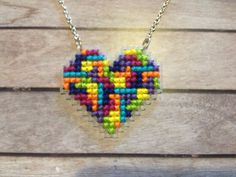 Tetris Heart / Nintendo Cross Stitch by perfectlypixel8ed on Etsy