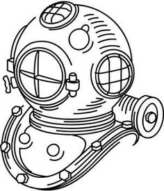 Pirates And Nautical Ocean Theme Tattoos, Ocean Bathroom Decor, Helmet Drawing, Helmet Tattoo, Deep Sea Diver, Diving Helmet, Urban Threads, Drawing For Beginners, Helmet Design