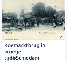 Koemarktbrug van toen er nog een stroontram was naar Rotterdam. We kijken in de richting van de Koemarkt. Molen de Batavier in het verlengde van de brug. In de verte nog de Toren van de Singelkerk. Rechts staat de stomp van molen de Meiboom. De foto is rond 1900 gemaakt.
